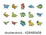 dinosaurs icons set eps10 | Shutterstock .eps vector #428480608