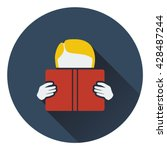 flat design icon of boy reading ...