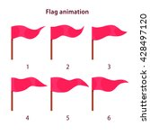 red triangle shape flag waving...