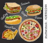 color fast food on a black... | Shutterstock .eps vector #428502244