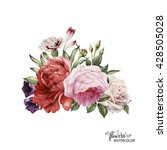bouquet of peonies  watercolor  ... | Shutterstock . vector #428505028