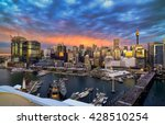 Small photo of SYDNEY, AUSTRALIA - May 29, 2016 : Sunset of Darling Harbour, adjacent to the city center of Sydney and also a recreational place in Sydney central business district