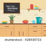 kitchen with furniture set.... | Shutterstock .eps vector #428530723