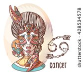 zodiac girl. cancer zodiac sign.... | Shutterstock .eps vector #428534578