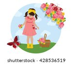 happy little girl in a field of ... | Shutterstock .eps vector #428536519