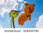 Huge Bear And Cat Kites Flying...