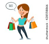 happy girl with bags  shopping... | Shutterstock .eps vector #428558866