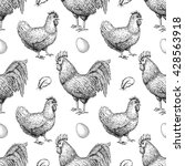 chicken breeding hand drawn... | Shutterstock . vector #428563918