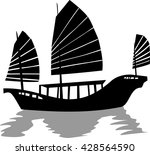 Silhouette Of Chinese Junk Ship