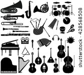 set of black and white icons of ... | Shutterstock .eps vector #428568508