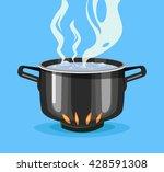 boiling water in pan. big black ... | Shutterstock .eps vector #428591308