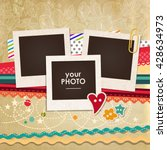 collage photo frame on vintage... | Shutterstock .eps vector #428634973