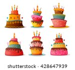 Birthday  Cakes Set. Eps10