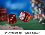 two red dice rotates in the air ... | Shutterstock . vector #428658634