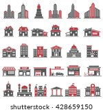 building icons set in red and... | Shutterstock .eps vector #428659150