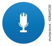 microphone icon on blue button...