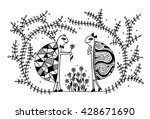 coloring page for kids. funny... | Shutterstock .eps vector #428671690