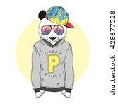 panda boy dressed up in hoodie... | Shutterstock .eps vector #428677528