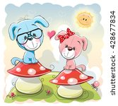 Two Cute Cartoon Puppies Are...