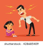 father scolds his daughter.... | Shutterstock .eps vector #428685409