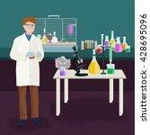 man doing reaction in science... | Shutterstock .eps vector #428695096