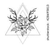 blackwork tattoo flash. peony... | Shutterstock .eps vector #428695813