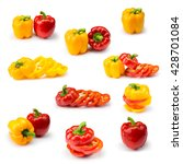 Sweet Peppers Isolated On Whit...