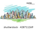 cityscape. hand drawn vector | Shutterstock .eps vector #428711269