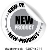 gray new product sticker  ... | Shutterstock .eps vector #428746744