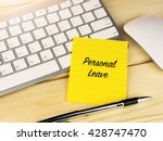 personal leave on sticky note... | Shutterstock . vector #428747470