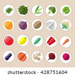 fresh and tasty flat vegetables ... | Shutterstock .eps vector #428751604