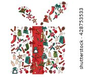 christmas gift box made of... | Shutterstock .eps vector #428753533