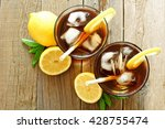 Two Glasses Of Iced Tea With...