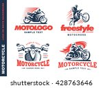 motorcycle shield emblem  logo... | Shutterstock .eps vector #428763646
