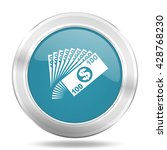 money icon  blue round metallic ... | Shutterstock . vector #428768230