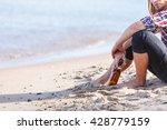 man depressed with wine bottle... | Shutterstock . vector #428779159