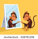 monkey looks in mirror and did...   Shutterstock .eps vector #428781208