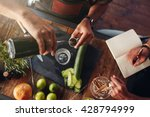 two bartenders experimenting... | Shutterstock . vector #428794999