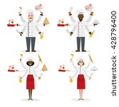 multitasking set chef cook... | Shutterstock .eps vector #428796400