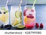 variety of lemonade in mason... | Shutterstock . vector #428799580
