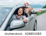 happy family look out from car... | Shutterstock . vector #428801083