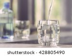 closeup glass of water on table ... | Shutterstock . vector #428805490