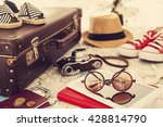 ready vacation suitcase ... | Shutterstock . vector #428814790