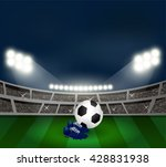 soccer shoes and football on...   Shutterstock .eps vector #428831938