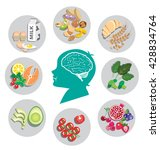 best foods for brain health and ... | Shutterstock .eps vector #428834764