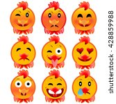 set of cheerful cock emotions.... | Shutterstock . vector #428859988