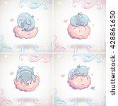 cute elephants  sleeping on the ... | Shutterstock .eps vector #428861650