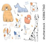 Stock vector cute dogs set 428867560