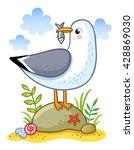 cute cartoon vector gull on a...   Shutterstock .eps vector #428869030