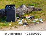 Garbage Waste In Park Full Of...